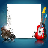 Vector Music Background with Instruments and Music Stock Image