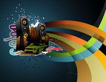 Vector music city illustration Stock Photography
