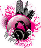 Vector music city illustration Royalty Free Stock Photography