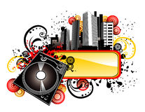 Vector music city illustration Royalty Free Stock Images