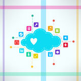 Vector music cloud with icons set. Online music Stock Images