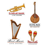 Vector music festival icons of musical instruments Royalty Free Stock Photography