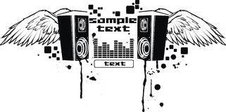 Vector music fly. This vector sound composition, with speakers and wings Stock Photography