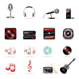 Vector music icon set. Vector music and audio icon set isolated on white Stock Image