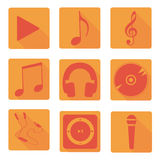 Vector music icons set. Flat. Music, flat, icon, mp3, notes, not, player, earphones, microphone, melody, tune, object, disk, play, media, equipment, vector Royalty Free Stock Image