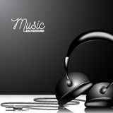 Vector music illustration with headphone on clean background. Stock Photo