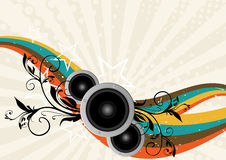 Vector music illustration with speakers Royalty Free Stock Photography