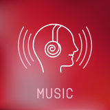 Vector music logo in outline style vector illustration