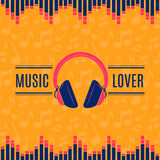 Vector music lover headphones illustration on musical notes background Royalty Free Stock Photography