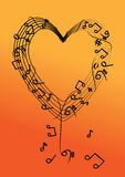 Vector music note on heart. Background royalty free illustration