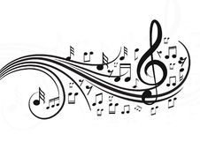 Music notes with waves. Vector music notes for design project. file is included royalty free illustration