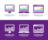 Vector music and phone logo combination. Equalizer and mobile symbol or icon.   Stock Photography
