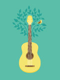 Vector music poster in flat retro style. Guitar and bird on tree Royalty Free Stock Photos