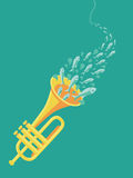 Vector music poster in flat retro style. Sound wave and fishes Stock Photography
