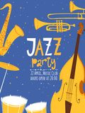 Vector music poster. Jazz music card. Vector music poster. Jazz party music card. Many jazz instruments.Midnight sky Royalty Free Stock Images