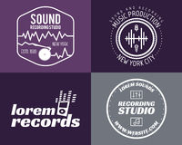 Vector music production studio logos set. Musical Stock Photo