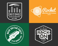 Vector music production studio logos set. Musical Royalty Free Stock Photos