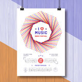 Vector Music Retro poster template A4 size Festival placard Royalty Free Stock Photo