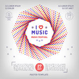 Vector music retro square banner, poster or card, musical collage. Festival placard in a modern minimalist style. Elegant brand identity for the music studio vector illustration