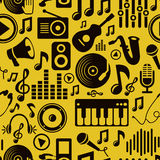 Vector music seamless pattern with icons Royalty Free Stock Image