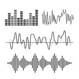 Vector music sound wave icon set Royalty Free Stock Photo