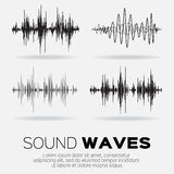 Vector music sound waves set. Royalty Free Stock Photography
