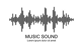 Vector music sound waves on white background. Audio equalizer icon. stock illustration