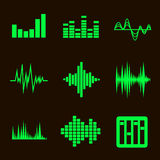 Vector music soundwave icon set on black Royalty Free Stock Images
