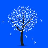 Vector music tree on blue background. Eps 10 Royalty Free Stock Photos