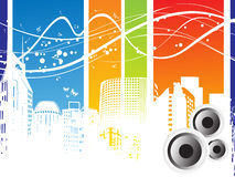 Vector musical background with speakers Stock Images