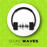 Vector musical dj  style - headphones with sound waves. Royalty Free Stock Photography