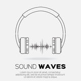 Vector musical dj  style - headphones with sound waves. Royalty Free Stock Photo
