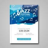 Vector musical flyer Jazz festival. Music background festival brochure flyer template Stock Photos