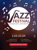 Vector musical flyer Jazz festival. Music poster background festival banner or flyer template. Stock Photography