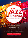 Vector musical flyer Jazz festival. Music poster background festival brochure flyer template. Vector musical flyer Jazz festival. Music poster background Royalty Free Stock Photography