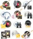 Vector musical icon set stock illustration