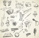 Vector musical instruments. Hand drawn set of classical musical instruments Royalty Free Stock Photography