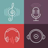 Vector musical logos and icons in outline style vector illustration