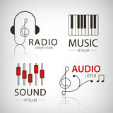 Vector musical logos and icons set of design Stock Image