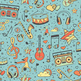 Vector musical pattern, doodle style. Seamless music texture Stock Photo
