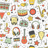 Vector musical pattern, doodle style. Seamless music texture Stock Images