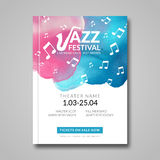 Vector musical poster design. Watercolor stain background. Jazz, rock style billboard template for card, brochure Royalty Free Stock Photos