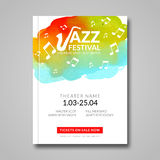 Vector musical poster design. Watercolor stain background. Jazz, rock style billboard template for card, brochure Stock Photos