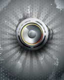 Vector musical speaker icon on a dark background stock illustration