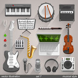 Vector musical style. set 7 Royalty Free Stock Images