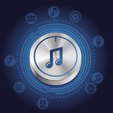 Vector Musikkonzept mit Metallknopf und -ikonen Stockfotografie
