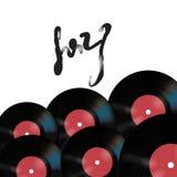 Vector Musikplakat auf weißem Hintergrund mit Vinylaufzeichnungen Lizenzfreies Stockfoto