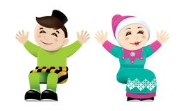 Muslim boy and girl waving their hands. Isolated. Vector of a Muslim boy and girl Stock Photos