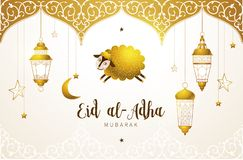 Happy sacrifice celebration Eid al-Adha card. Vector muslim holiday Eid al-Adha card. Banner with sheep, golden decor, calligraphy for happy sacrifice stock illustration