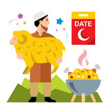 Vector Muslim holiday of Ramadan. Flat style colorful Cartoon illustration. Royalty Free Stock Photos